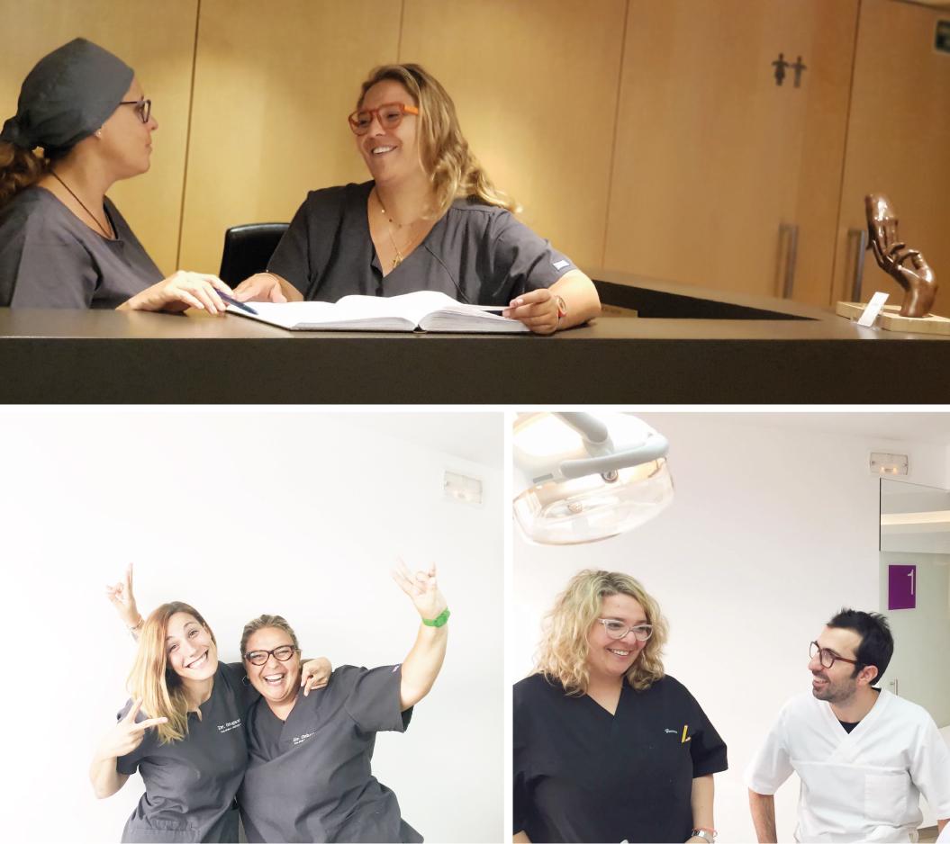gemma con sus compañeros en la clínica dental